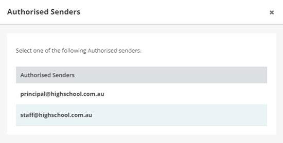 KB Authorised Senders Authorised List